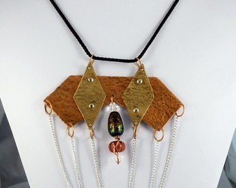 Mixed Metal Breastplate necklace with dangling layered chains and glass bead accent - Cold riveted brass and copper pendant