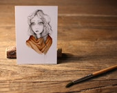 "ACEO Print Artist Trading Cards Fine Art ACEO Print of my original Artwork Collectible Mini Artwork She's Called ""Want"""