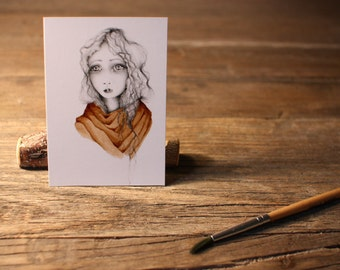"""ACEO Print Artist Trading Cards Fine Art ACEO Print of my original Artwork Collectible Mini Artwork She's Called """"Want"""""""