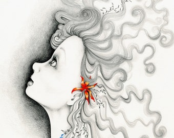 """Inspirational Art Print """"Reach For the Stars"""" Giclee Fine Art Print of My Original Inspirational Art Art and Collectibles Print of a Girl"""