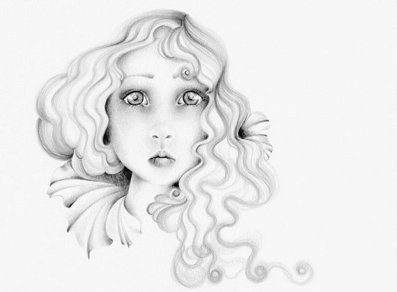 Original Pencil Drawing Illustration One of a Kind Fine Art Big Eyes Hand Drawn Work of Art Collectible