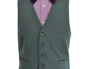 40R / 40 Regular Gray Pinstripe Men's Vest with Adjustable Waist
