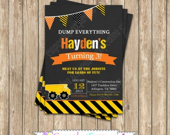 Construction Zone Chalkboard Invitation  DIY PRINTABLE Printable Birthday 6 Invitation 5x7 4x6  dump truck tools cupcake express