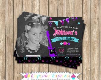 DIY Rockstar Girl Birthday PRINTABLE Invitation Chalkboard pink black purple teal guitar rock star photo invitation music 8