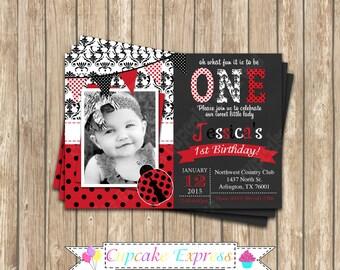Ladybug first Birthday Invitation DIY  PRINTABLE Photo chalkboard Invitation 5x7 4x6 red black lady bug personalized polka dot