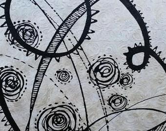 "GALAXY Original Abstract BLACK WHITE Modern Painting Sara Larson Art 36"" x 24"""