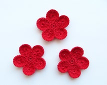 Crochet Flower Appliques, GIANT Flower, Red Hot Large Crochet Flower Motif, PALM SIZED Bloom, Set of 3