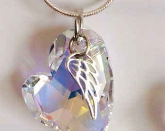 """Memorial Necklace - Gift for Mom- Crystal Heart Necklace - Memorial jewelry- Swarovski® """"Devoted"""" Angel Wing Necklace - Jewellry"""