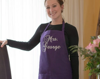 Mrs. Apron.  Custom apron personalized for a Bride with her new last name. Plum purple and white wedding gift idea. Newlywed gift. Cooking