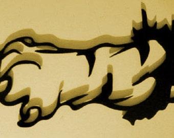Animal paw, Gothic Paw, Metal Art Wall Decor, Skull