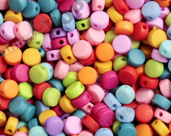 Tiny Rainbow Colored Matte Opaque Flat Round Beads, Round Beads, Rainbow Beads, 8mm Beads, 2mm Hole (R7-094)