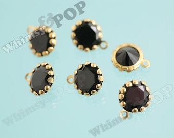 10 - Brass Black Crystal Faceted Rhinestone Pendant Charm Beads, Resin Rhinestone Charms, 13mm x 11mm (5-2D)