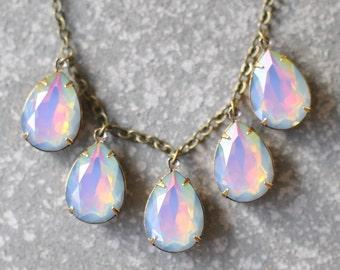 Rainbow Opal Necklace Swarovski Crystal Milky Opal Multi Color Pear Drop Necklace Statement Necklace Rhinestone Jewelry Duchess Mashugana
