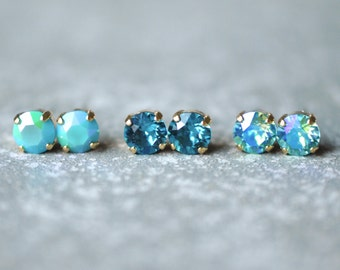 Blue Green Studs Set of Three Earrings Swarovski Crystal 8mm Stud Earring Turquoise Dark Teal Bridesmaid Indicolite Blue Bridesmaid Wedding