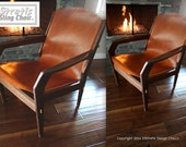 Reserved For Charlie! Christmas Special. (2)Stratis Sling Chairs, Sz. Lg, Low Back, Custom Order, Solid Walnut 10oz  Chocolate Brown Leather