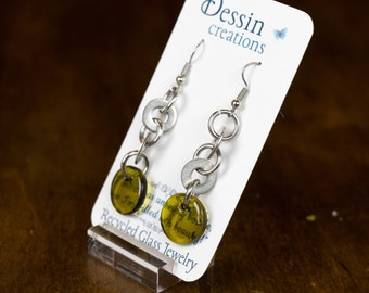 CUSTOM WINE Bottle Earrings, Stainless Steel Post Modern Eco Chic, Unique Gift, Dessin Creations