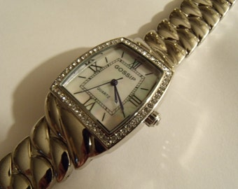Ladies Watch Large Link Crystal Bezel Silver Tone