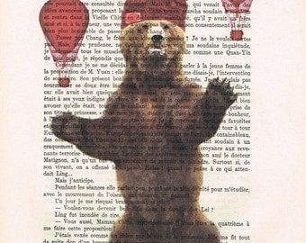 Bear with airballoons Drawing Illustration Giclee Prints Posters Mixed Media Art Acrylic Painting Holiday Decor Gifts Grizly bear