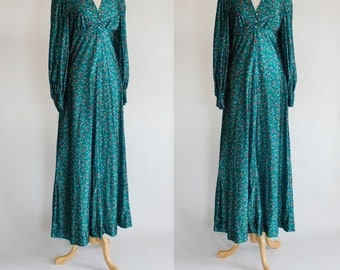 70s Maxi Dress / 70s Boho Maxi / Granny Dress / 70s Dress / Floral Maxi Dress / Prairie Style Dress
