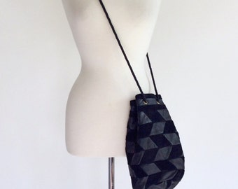 70s Handbag / Boho Shoulder Bag / Black Suede Bag / Suede and Leather Bag / Small Tote Bag / Boho Hippie Pouch