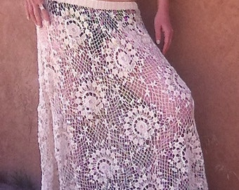 Gilded Gypsy Skirt *1970's Sheer Crochet Lace Boho Maxi Skirt