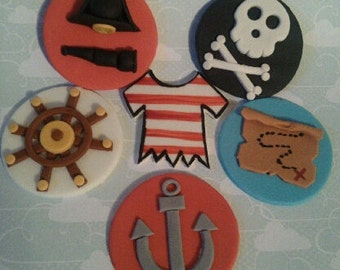 Pirates Edible Cupcake Toppers - 6 Designs - Set of 12