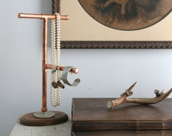 Industrial Modern Copper Pipe Jewelry Display Stand Organizer