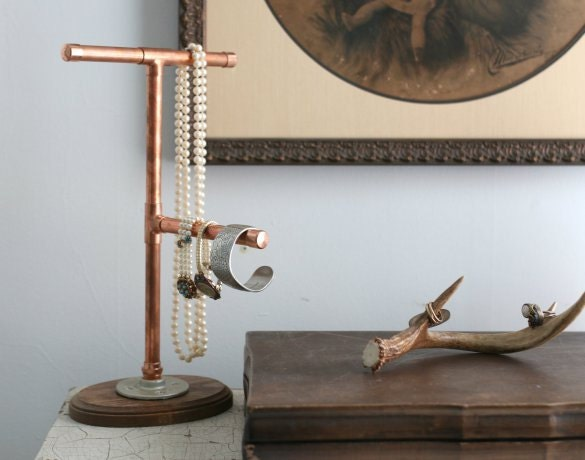 Industrial modern copper pipe jewelry display stand organizer for Copper pipe jewelry stand