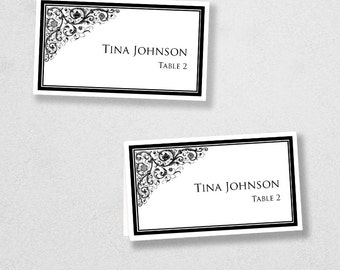 Printable Place Card Template - INSTANT DOWNLOAD - Escort Card - For Word and Pages - Mac and PC - Flat or Folded - Ornamental Design
