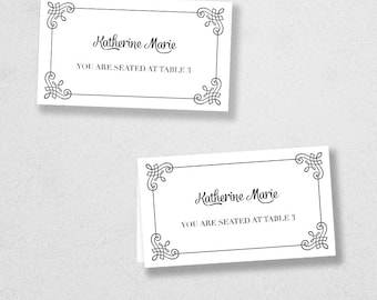 Printable Place Card Template - INSTANT DOWNLOAD - Escort Card - For Word and Pages - Mac and PC - Flat or Folded - Frame Design