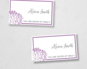 Avery Place Card Template - INSTANT DOWNLOAD - Escort Card - For Word and Pages - Mac and PC - Flat or Folded- Hydrangea
