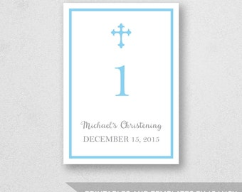 Table Number Template Printable - INSTANT DOWNLOAD - For Word and Pages - Mac and PC - Cross - Baptism - Christening - 5 x 7 inches