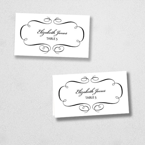 Printable Place Card Template - INSTANT DOWNLOAD - Escort Card - For Word and Pages - Mac and PC - Flat or Folded - Flourish Design