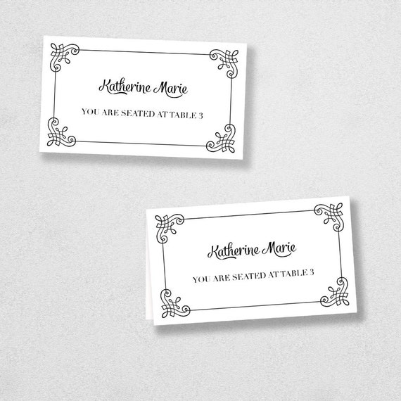 items similar to printable place card template