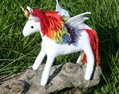 Rainbow Faerie Pegacorn Fantasy Plush, Eco Friendly, White and Rainbow Stuffed Pegasus Unicorn Toy, Lisa Frank, Girls Gift, Flying Unicorn