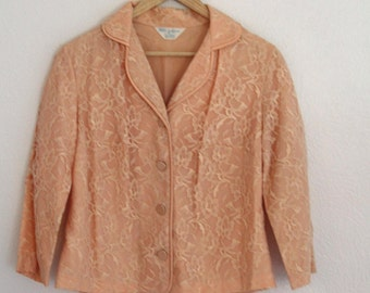 1970s Peach Lace Bed Jacket Lacy Button Front Lingerie Blazer Womens Vintage Medium