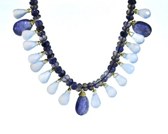 18k Gold Iolite & Bluelace Chalcedony Necklace.