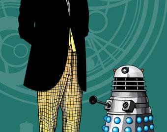 """Doctor Who - Fan Art - William Hartnell & Dalek - 17 x 11"""" Digital Print"""