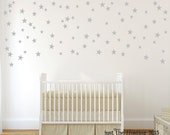 Silver Star Wall Decals - Confetti Star Decals Set of 140 - Silver or Gold Decals