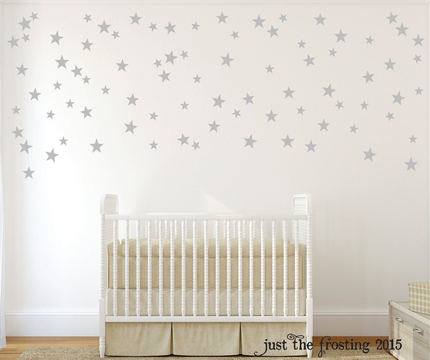 Silver star wall decals confetti star decals set of 140 for Star wall decals