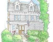custom house drawing, color portrait