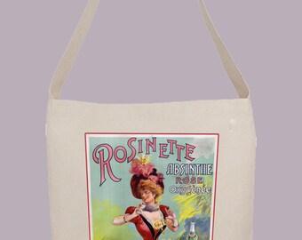 Vintage Absinthe Advertisement for brand Rosinette- Hobo Sling Tote, 14.5x14x3, Crossbody Strap, Magnetic Closure, Inside pocket