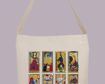 Victorian Tarot Cards illustration  - Hobo Sling Tote, 14.5x14x3, Crossbody Strap, Magnetic Closure, Inside pocket