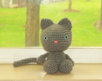 Playful Kitten - Gray Crochet Cat Doll (Finished Doll)