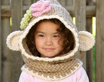 CROCHET PATTERN - Monkey Business - chunky crochet hooded cowl pattern, monkey hood (Toddler, Child, Adult sizes) - Instant PDF Download
