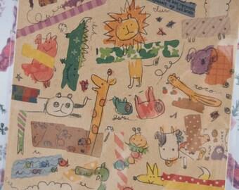 Funny Animals Deco Sticker - 1 Sheet