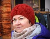 Knitted Alpaca Hat, Women's Winter Hat, Marsala  Beanie, Cherry Red Hat