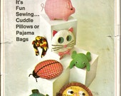 Vintage Pajama Bag Pillow Pattern Animal Shape Cat Frog Pig Turtle Ladybug 60s Simplicity 7367