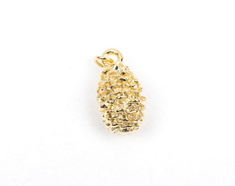 PINECONE, Deluxe Gold Plated Charm  chg0255