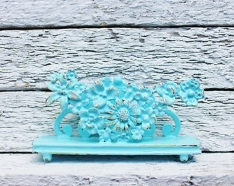 AQUA business CARD HOLDER , Table Place Holder , Ornate Floral, Bathroom Office Decor,Victorian Shabby Chic ,Spring Home Office Decor, Metal